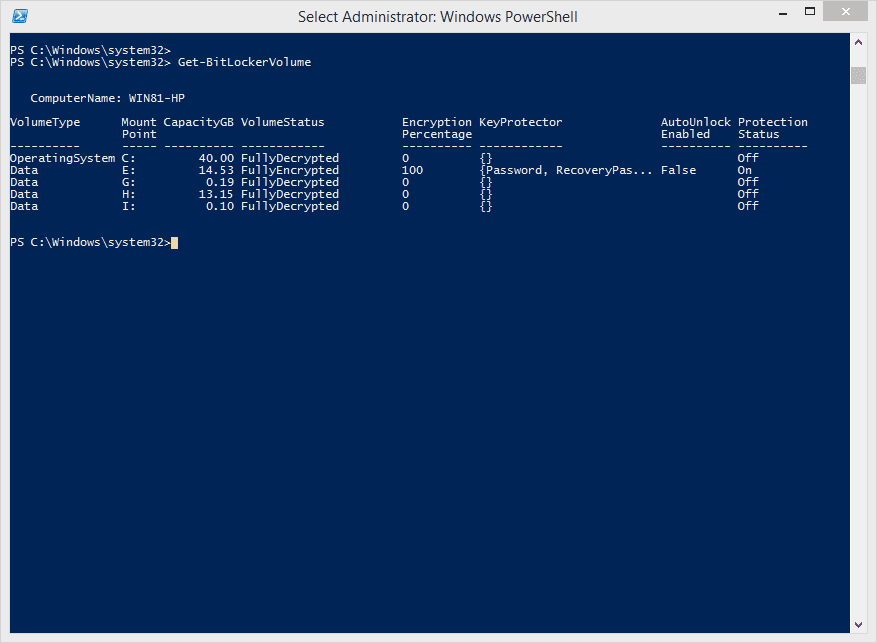 PowerShell Get BitLockerVolume - Windows 8 Quick Tip: Get BitLocker Recovery Key The PowerShell Way