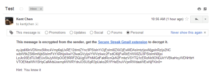 SecureGmail - encrypted email before decrypted
