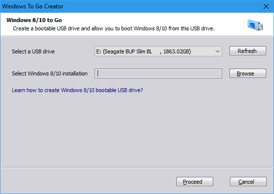 AOMEI Partition Assistant - Windows To Go Creator