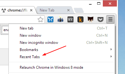 Recent Tabs from Chrome Menu