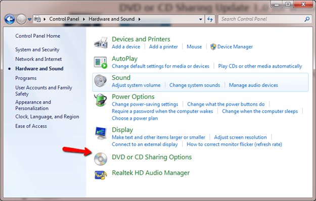 DVD or CD Sharing Options thumb - Leverage Windows DVD Sharing To Install or Upgrade Mac Boot Camp Windows 8.1