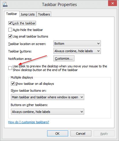 Re-enabling Desktop Peek option from Taskbar properties