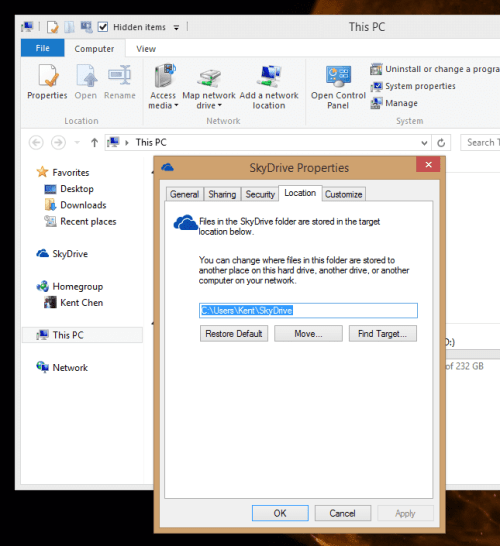 Change default SkyDrive location on Windows 8.1