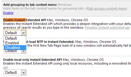 chromeflags - Google Chrome - Instant Extended API