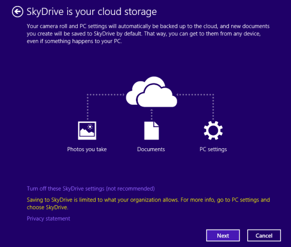 SkyDrive is now linked.