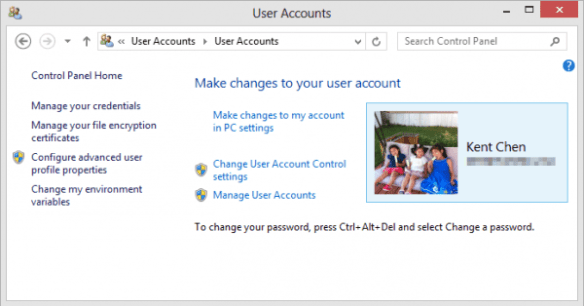 User Accounts in Control Panel
