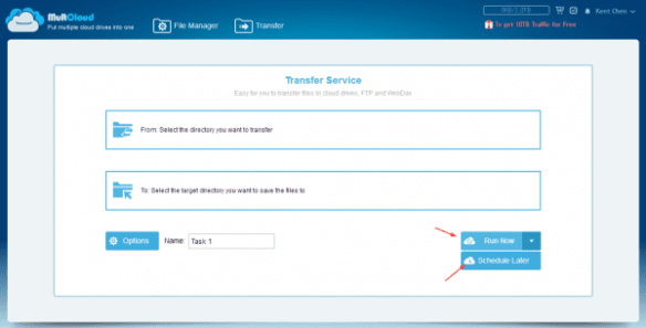 MultCloud - Transfer feature with Run options