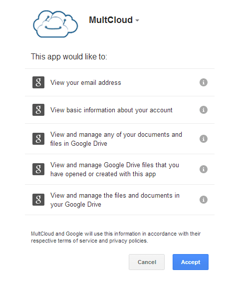 OAuth form on Google