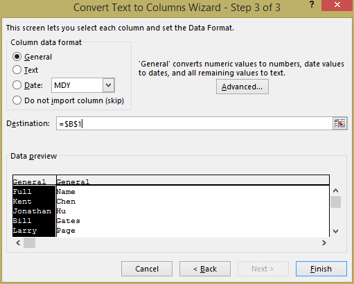 Excel - convert text to columns wizard step 3