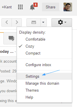 Gmail - Gear icon - settings