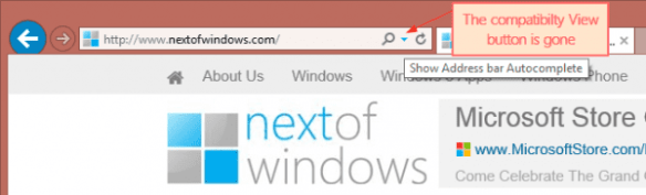 No Compatibility View Button in IE 11