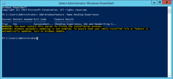 Server 2012 R2 - enable desktop experiece in powershell