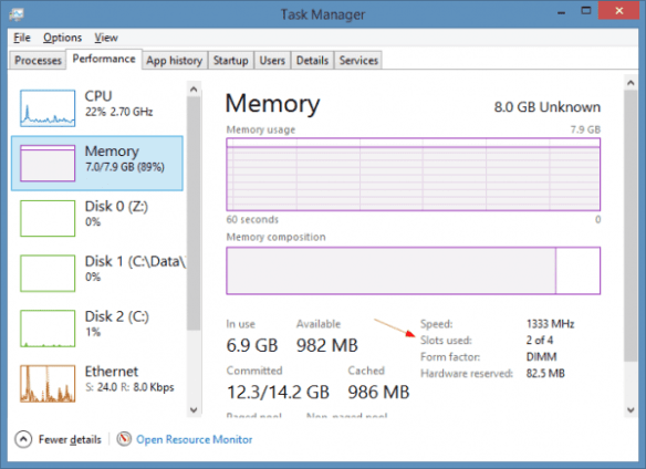 Task Manager - Memory graph