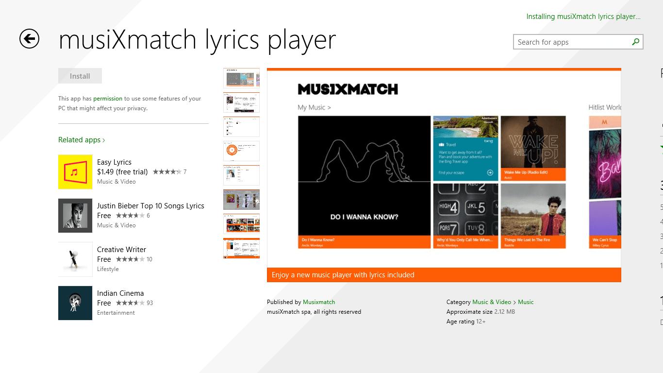 The Best Music Lyrics Player on Windows Phone and Windows 8