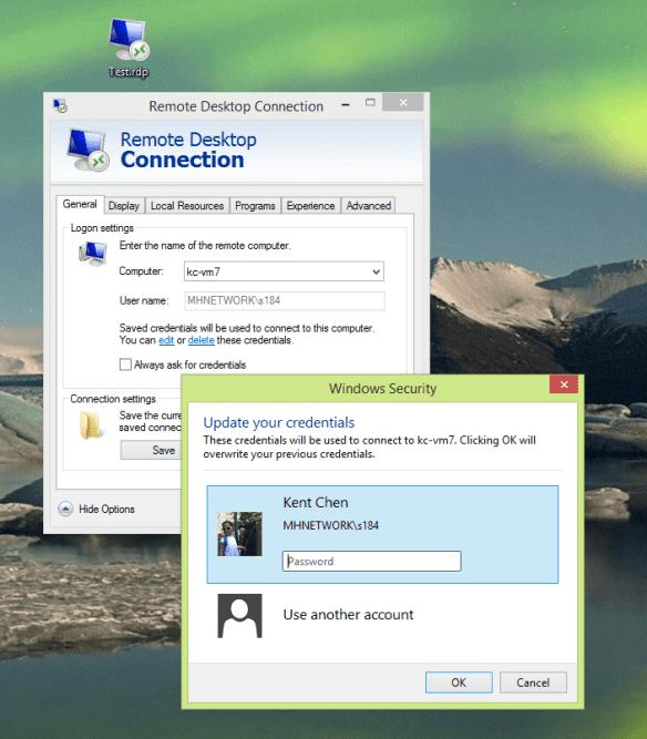 RDP file - update credential