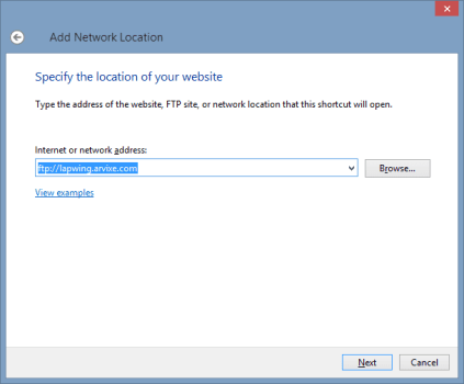 Add Network Location wizard - step 3