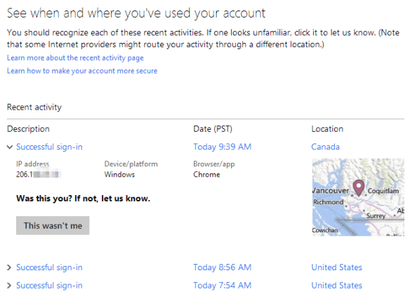 Microsoft account - recent activites detail
