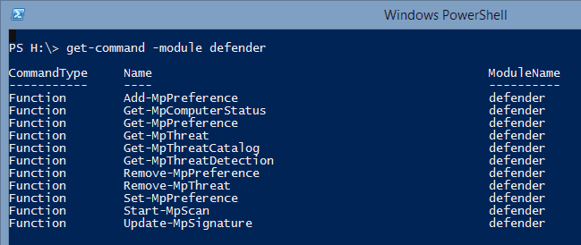 Managing Microsoft Defender in PowerShell in Windows 8