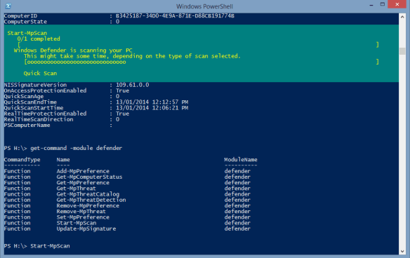 PowerShell - run Defender scan