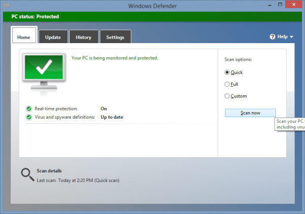 Windows Defender 2014 01 13 14 29 04 600x422 - Ex-Mozilla Engineer Warns Don't Use 3rd Party Anti-Virus Software