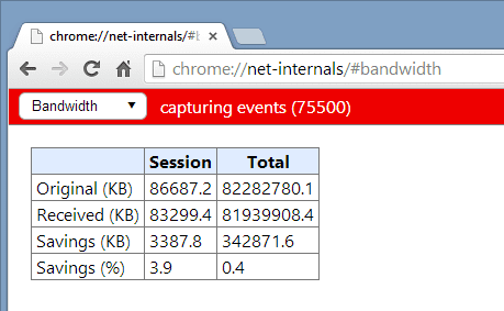 chrome   net internals bandwidth 2014 02 24 10 57 27 - Speeding Up Web Browsing in Chrome by Enabling Data Compression Proxy
