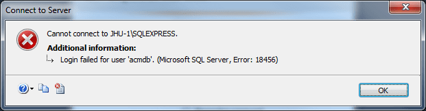login failed for user SQL server error 18456