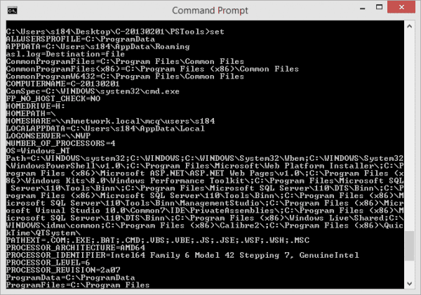 Command Prompt SET to show the variables 600x420 - Windows Quick Tip: How To Find Out All My Environment Variables