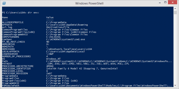 Windows PowerShell dir env to list all environment variables 600x300 - Windows Quick Tip: How To Find Out All My Environment Variables