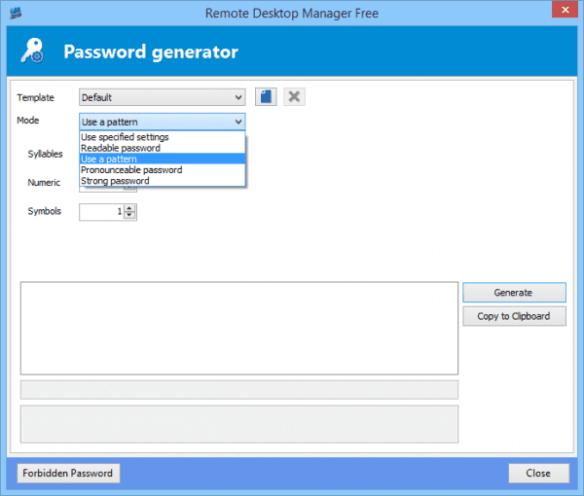 Remote Desktop Manager - password generator
