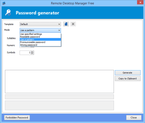 Remote Desktop Manager - password generator