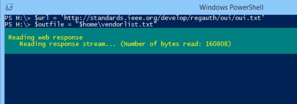 Windows PowerShell 2014 10 02 14 22 24 600x210 - Getting MAC Addresses and Their Vendor Name in PowerShell