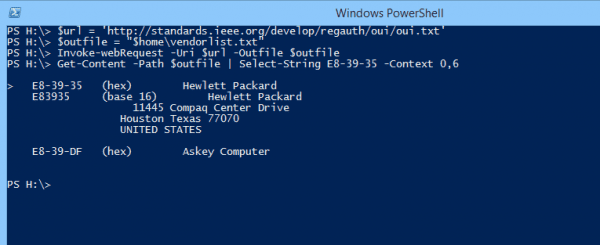 Windows PowerShell 2014 10 02 14 28 00 600x245 - Getting MAC Addresses and Their Vendor Name in PowerShell