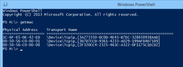 Windows PowerShell getmac 600x221 - Getting MAC Addresses and Their Vendor Name in PowerShell
