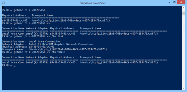 Windows PowerShell getmac options 600x295 - Getting MAC Addresses and Their Vendor Name in PowerShell