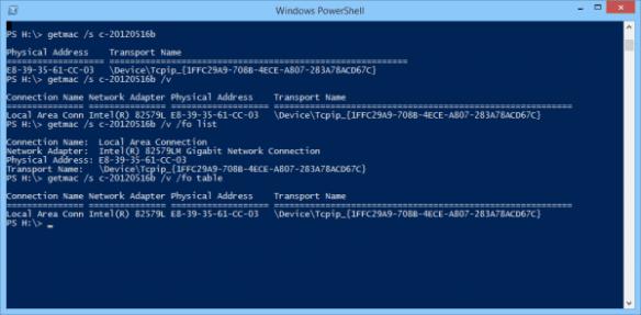 Windows PowerShell - getmac options