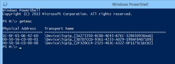 Windows PowerShell - getmac