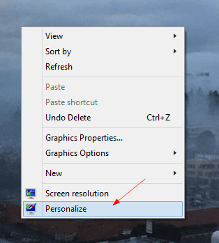 right click desktop to personalize