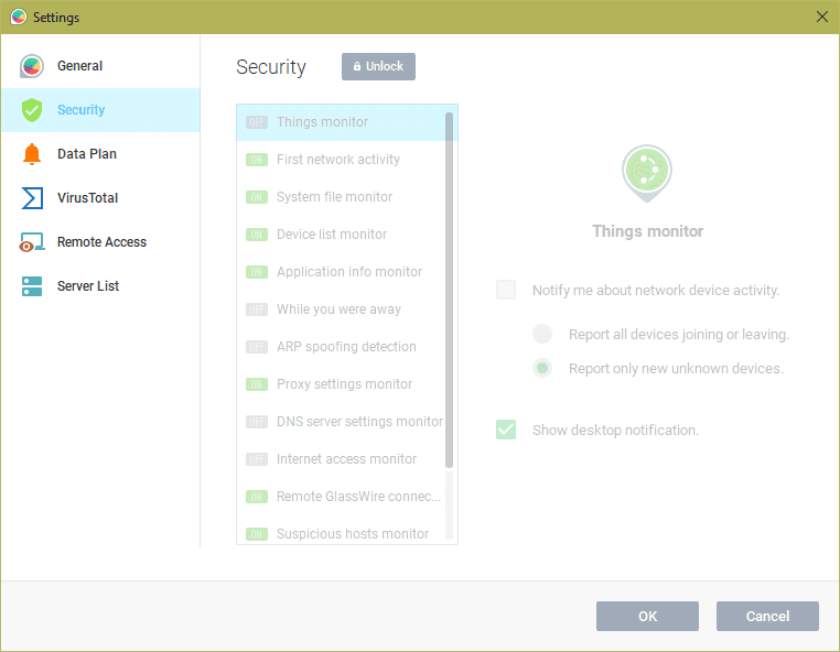 Settings Security - GlassWire 2.0 - A Nice Looking Network Security Monitor and Firewall Tool