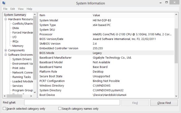 System Information - BIOS Legacy