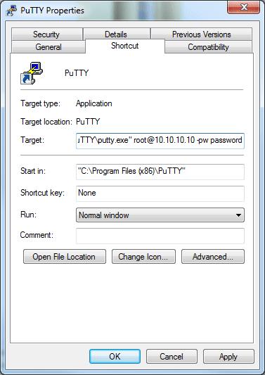 PuTTY Target Params