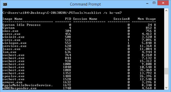 Command Prompt - tasklist remote computer