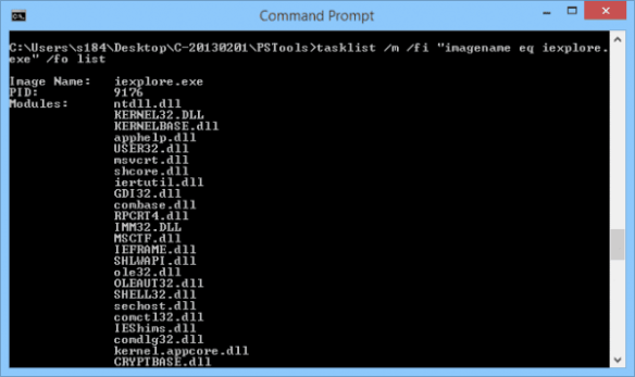Command Prompt - tasklist with fo list
