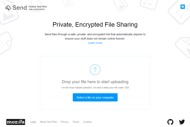 Firefox Send 2017 08 04 15 53 10 - Try Firefox Send - Mozilla's Secure File-Sharing Project
