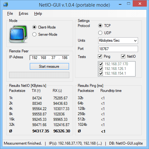 NetIO GUI v.1.0.4 portable mode 2015 02 03 13 34 13 - Free Portable LAN Network Benchmark Tools for Windows