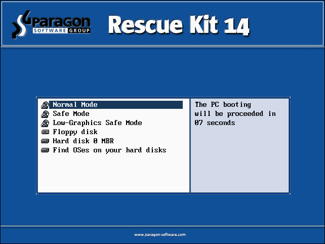 Paragon Rescue Kit 14 Free Edition - Next of Windows
