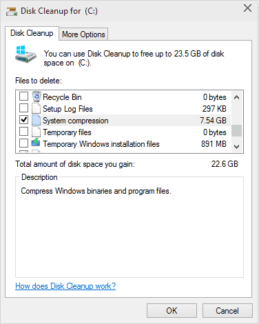 Windows 10 System Compression