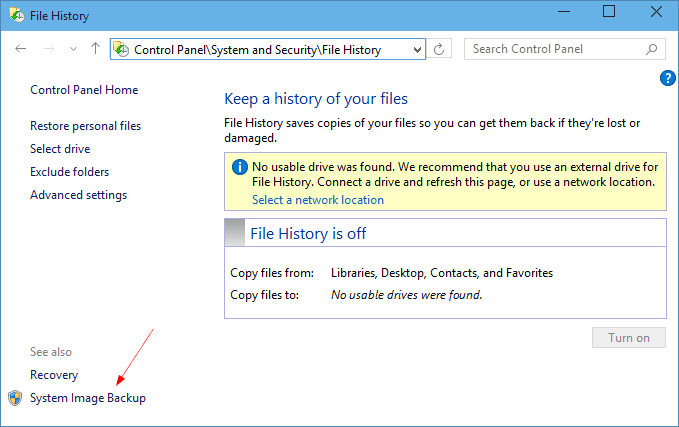 Control Panel - File History
