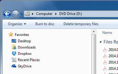 Disc burning options