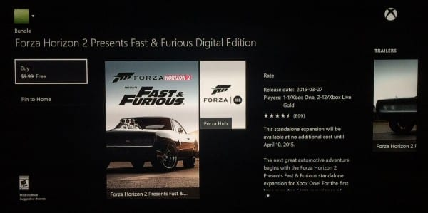 Forza Horizon 2 fast and furious 600x299 - Xbox One/360 standalone Fast & Furious Forza Horizon 2 Game Free until April 10