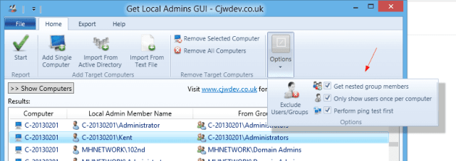 Get Local Admins GUI - Options